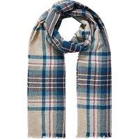 Brora Cashmere Knit Plaid Stole, Blue