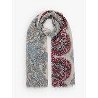 Brora Wool Paisley Print Stole, Clay/ocean