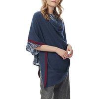 Brora Cashmere Knit Contrast Trim Poncho, Ink