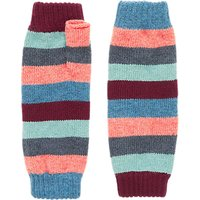 Brora Stripe Colour Block Cashmere Wristwarmers, Rainbow