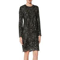 Gina Bacconi Marzena Swirl Embroidered Dress, Black