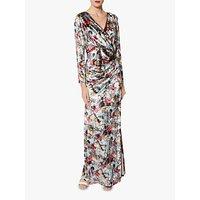 Gina Bacconi Jinx Oriental Velvet Floral Maxi Dress, Iced Blue