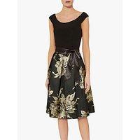 Gina Bacconi Elza Jersey Dress, Black/Gold