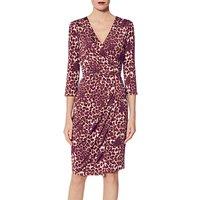 shop for Gina Bacconi Nikoleta Leopard Wrap Dress, Magenta at Shopo
