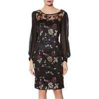 Gina Bacconi Mallory Embroidered Dress, Black/Gold
