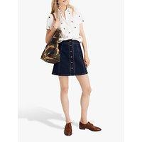 Madewell Exposed Button Metropolis Skirt, Eldridge Wash