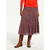 Boden Frome Floral Print Skirt, Dark Burgundy