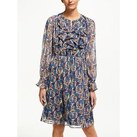 Boden Amalie Floral Print Ruffle Dress, Navy/flourish Small