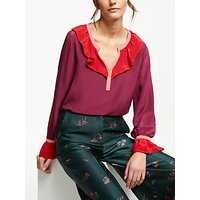 Boden Constance Silk Blouse, Mulled Wine