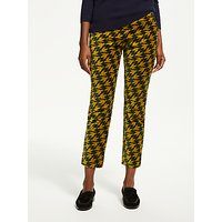 Boden Velvet Bird Print Straight Leg Trousers, Yellow Dark