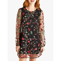 Yumi Floral Embroidered Tunic Dress, Black
