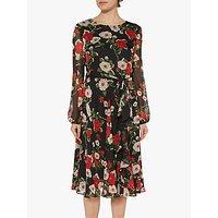 Gina Bacconi Esmeralda Chiffon Dress, Black/Red