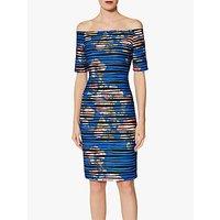 Gina Bacconi Skylar Wavy Print Dress, Royal Blue