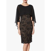Gina Bacconi Athena Lace Dress With Chiffon Cape, Black