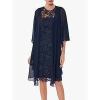 Gina Bacconi Gianna Floral Guipure Dress With Shawl, Navy
