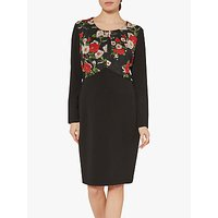 Gina Bacconi Rochelle Crepe And Print Dress, Black/Red