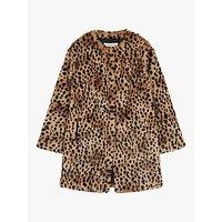 Gerard Darel Mischa Faux Fur Leopard Print Coat, Brown/Multi