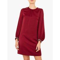 Ted Baker Joele Crepe Tunic Dress, Red Maroon
