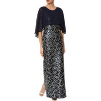 Gina Bacconi Arina Maxi Dress, Navy/Silver