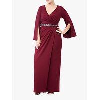 Adrianna Papell Plus Size Long Split Sleeve Evening Dress, Garnet
