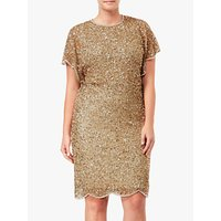Adriana Papell Flutter Sleeve Sequin Beaded Plus Size Cocktail Dress, Champagne Gold