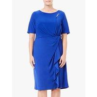 Adrianna Papell Plus Size Matte Jersey Asymmetric Sheath Dress, Cyprus Blue