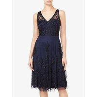 Adrianna Papell Beaded Tulle Cocktail Dress, Navy/Black