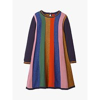 Mini Boden Girls' Sparkly Stripe Knitted Dress, Rainbow
