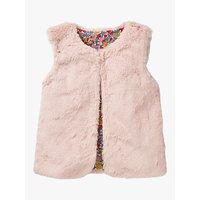 Mini Boden Girls' Party Faux Fur Gilet, Pink