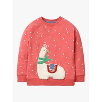 Mini Boden Girls' Llama Fluffy Sweatshirt, Rosette Pink