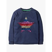 Mini Boden Girls' Sequin Star Sweatshirt, Navy