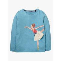 Mini Boden Girls' Ballerina Applique T-Shirt, Blue