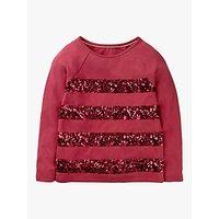 Mini Boden Girls' Sequin Stripe T-Shirt, Bramble Red