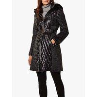 Karen Millen Longline Quilt Faux Fur Hood Coat, Black