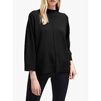 French Connection Ebba Vhari High Neck Rib Trim Jumper, Black
