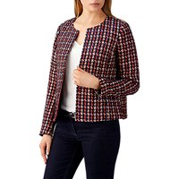 Pure Collection Textured Check Cotton Mix Jacket, Multi