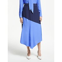John Lewis & Partners Colour Block Asymmetric Skirt, Ultramarine/Navy