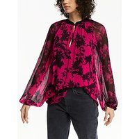 AND/OR Adele High Neck 80s Floral Blouse, Multi/Pink