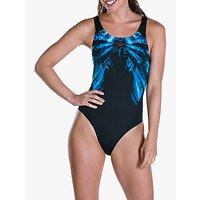 Speedo Freezefrost Placement Recordbreaker Swimsuit, Black/turqoise/white
