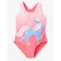 John Lewis & Partners Girls' Unicorn Print Swimsuit, Pink