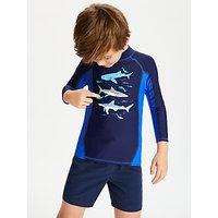 John Lewis & Partners Boys' Shark Sleeve Rashie, Blue
