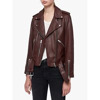 AllSaints Balfern Leather Biker Jacket, Tuscan Red