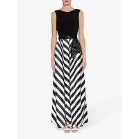 Gina Bacconi Hebe Satin Stripe Maxi Dress, Black