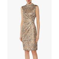 Gina Bacconi Robyn Embellished Collar Dress, Beige/Gold