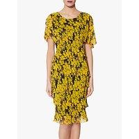 Gina Bacconi Gamora Tiered Floral Print Dress, Yellow
