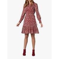 L.K.Bennett Damiell Abstract Animal Print Dress, Red/Multi