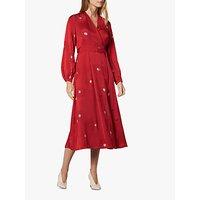 L.K.Bennett Elspeth Large Daisy Flower Print Wrap Dress, Red/Multi