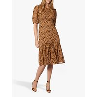 L.K.Bennett Alexa Leopard Print Silk Dress, Brown/Multi