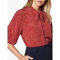 L.K.Bennett Tillila Woven Star Print Collar Top, Pri-Red/Multi