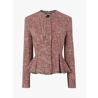 L.K.Bennett Cesilia Textured Peplum Detail Jacket, Red/Multi